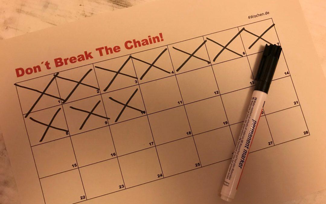 Vorsätze einhalten - don´t break the chain methode